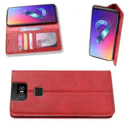 Чехол Книжка из Гладкой Искусственной Кожи для Asus Zenfone 6 ZS630KL с Кошельком для Карты Красный
