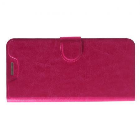 Чехол Книжка из Гладкой Искусственной Кожи для HTC U12+ с Кошельком для Карты Розовый