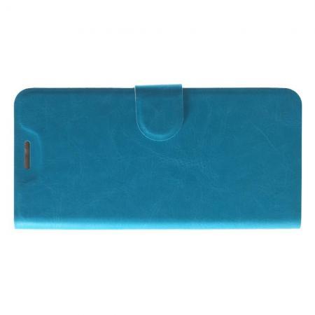 Чехол Книжка из Гладкой Искусственной Кожи для HTC U12+ с Кошельком для Карты Голубой