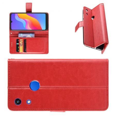 Чехол Книжка из Гладкой Искусственной Кожи для Huawei Honor 8A Pro с Кошельком для Карты Красный