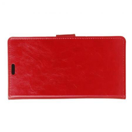 Чехол Книжка из Гладкой Искусственной Кожи для LG K11+ / K11 Plus с Кошельком для Карты Красный