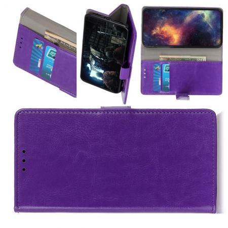 Чехол Книжка из Гладкой Искусственной Кожи для Nokia 1 Plus с Кошельком для Карты Фиолетовый