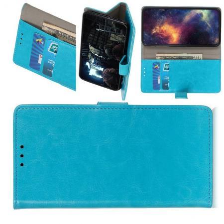 Чехол Книжка из Гладкой Искусственной Кожи для Nokia 1 Plus с Кошельком для Карты Голубой
