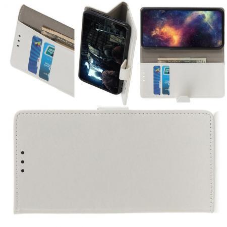 Чехол Книжка из Гладкой Искусственной Кожи для Nokia 1 Plus с Кошельком для Карты Белый