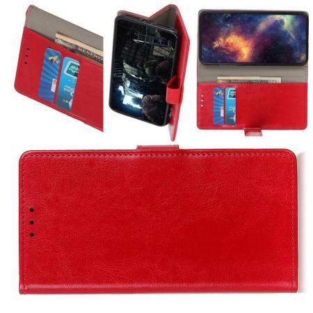 Чехол Книжка из Гладкой Искусственной Кожи для Nokia 1 Plus с Кошельком для Карты Красный