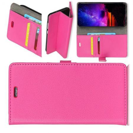 Чехол Книжка из Гладкой Искусственной Кожи для Nokia 7.1 с Кошельком для Карты Розовый