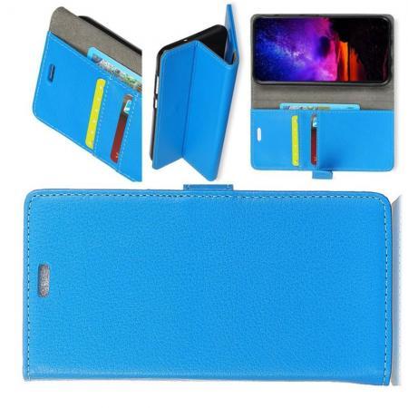 Чехол Книжка из Гладкой Искусственной Кожи для Nokia 7.1 с Кошельком для Карты Голубой