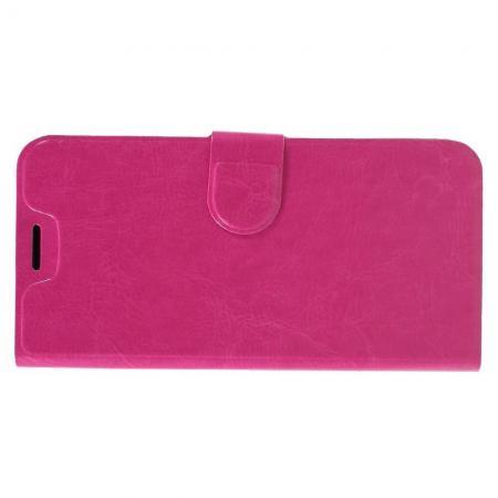 Чехол Книжка из Гладкой Искусственной Кожи для Samsung Galaxy A6s с Кошельком для Карты Розовый