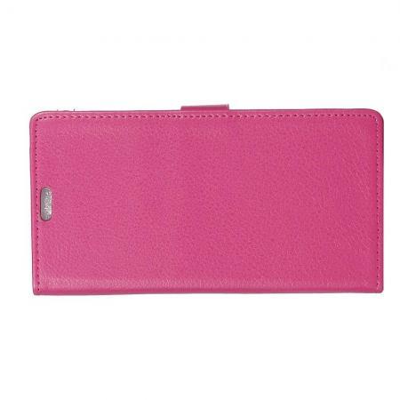 Чехол Книжка из Гладкой Искусственной Кожи для Samsung Galaxy J4 Plus SM-J415 с Кошельком для Карты Розовый