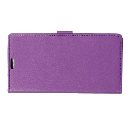 Чехол Книжка из Гладкой Искусственной Кожи для Samsung Galaxy J4 Plus SM-J415 с Кошельком для Карты Фиолетовый