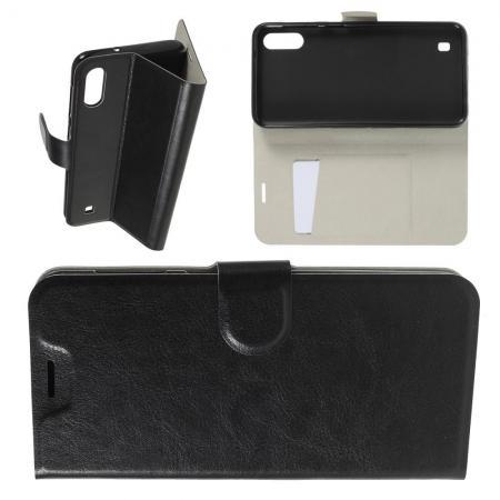 Чехол Книжка из Гладкой Искусственной Кожи для Samsung Galaxy M10 с Кошельком для Карты Черный