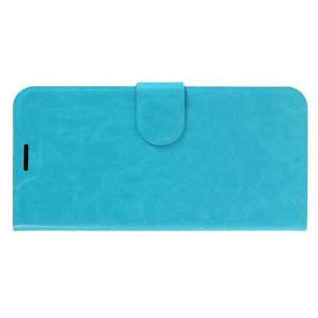 Чехол Книжка из Гладкой Искусственной Кожи для Samsung Galaxy M10 с Кошельком для Карты Голубой