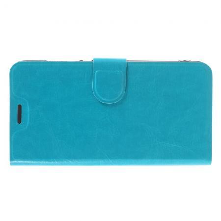 Чехол Книжка из Гладкой Искусственной Кожи для Xiaomi Redmi Note 5A 2/16gb с Кошельком для Карты Голубой