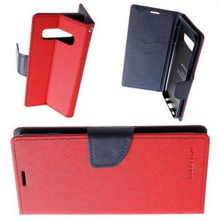 Чехол Книжка MERCURY GOOSPERY Жесткий Износоустойчивый для Samsung Galaxy S10 Plus с Визитницей и Силиконовой основой Красный