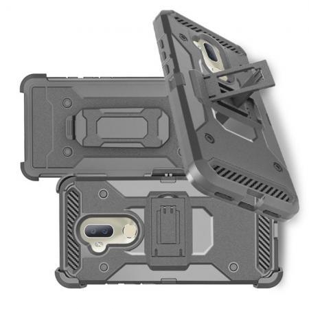 Двухкомпонентный Противоскользящий Гибридный Противоударный Чехол для Alcatel 7 с Подставкой Серый