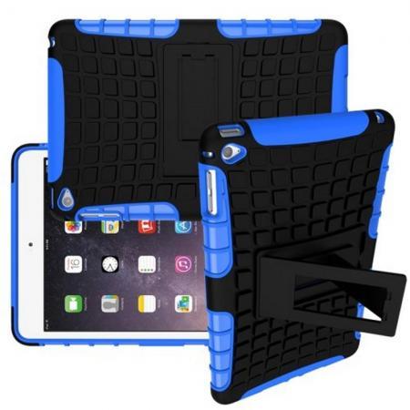 Двухкомпонентный Противоскользящий Гибридный Противоударный Чехол для Apple iPad mini 2019 с Подставкой Синий