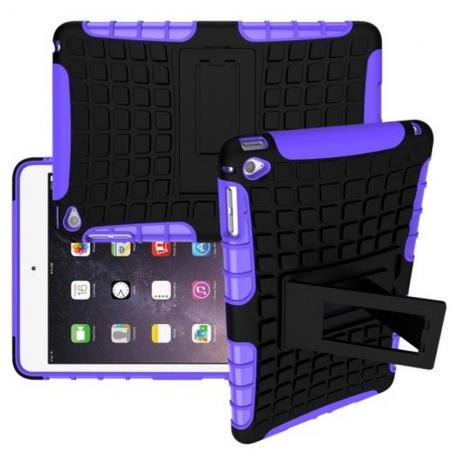 Двухкомпонентный Противоскользящий Гибридный Противоударный Чехол для Apple iPad mini 2019 с Подставкой Фиолетовый