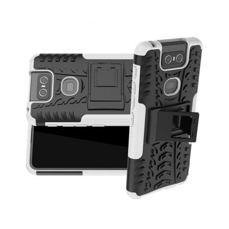 Двухкомпонентный Противоскользящий Гибридный Противоударный Чехол для Asus Zenfone 6 ZS630KL с Подставкой Белый
