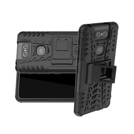 Двухкомпонентный Противоскользящий Гибридный Противоударный Чехол для Asus Zenfone 6 ZS630KL с Подставкой Черный