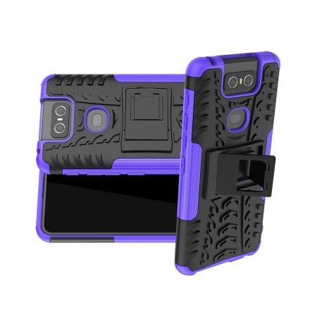 Двухкомпонентный Противоскользящий Гибридный Противоударный Чехол для Asus Zenfone 6 ZS630KL с Подставкой Фиолетовый