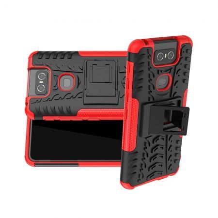 Двухкомпонентный Противоскользящий Гибридный Противоударный Чехол для Asus Zenfone 6 ZS630KL с Подставкой Красный