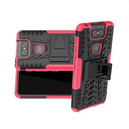 Двухкомпонентный Противоскользящий Гибридный Противоударный Чехол для Asus Zenfone 6 ZS630KL с Подставкой Розовый