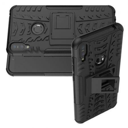 Двухкомпонентный Противоскользящий Гибридный Противоударный Чехол для Asus Zenfone Max Pro M1 ZB602KL с Подставкой Черный