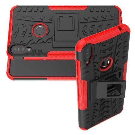 Двухкомпонентный Противоскользящий Гибридный Противоударный Чехол для Asus Zenfone Max Pro M1 ZB602KL с Подставкой Красный