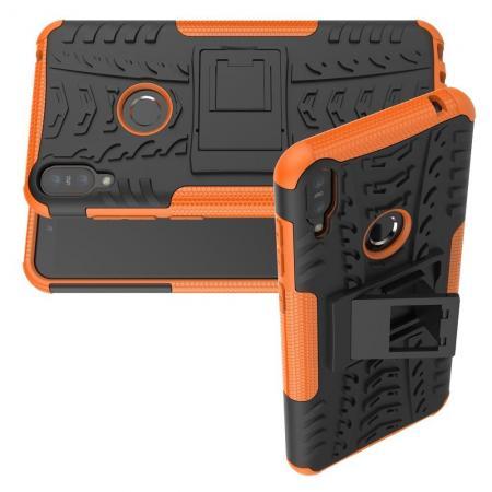 Двухкомпонентный Противоскользящий Гибридный Противоударный Чехол для Asus Zenfone Max Pro M1 ZB602KL с Подставкой Оранжевый