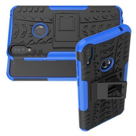 Двухкомпонентный Противоскользящий Гибридный Противоударный Чехол для Asus Zenfone Max Pro M1 ZB602KL с Подставкой Синий