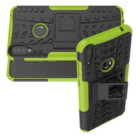 Двухкомпонентный Противоскользящий Гибридный Противоударный Чехол для Asus Zenfone Max Pro M1 ZB602KL с Подставкой Зеленый