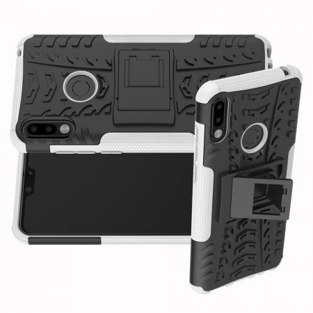 Двухкомпонентный Противоскользящий Гибридный Противоударный Чехол для Asus Zenfone Max Pro M2 ZB631KL с Подставкой Белый