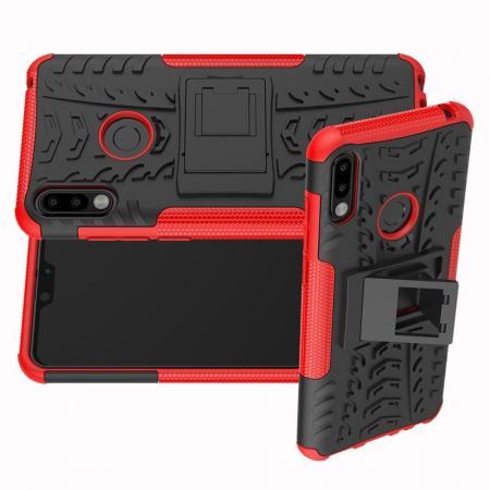 Двухкомпонентный Противоскользящий Гибридный Противоударный Чехол для Asus Zenfone Max Pro M2 ZB631KL с Подставкой Красный