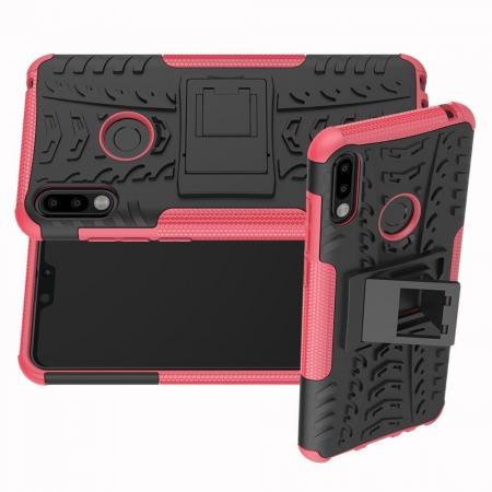 Двухкомпонентный Противоскользящий Гибридный Противоударный Чехол для Asus Zenfone Max Pro M2 ZB631KL с Подставкой Розовый