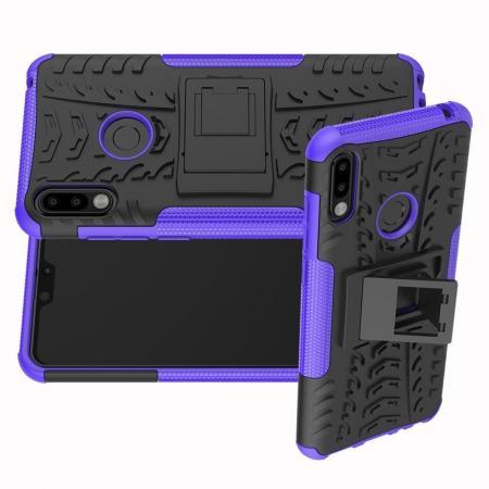 Двухкомпонентный Противоскользящий Гибридный Противоударный Чехол для Asus Zenfone Max Pro M2 ZB631KL с Подставкой Фиолетовый
