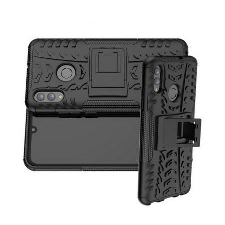 Двухкомпонентный Противоскользящий Гибридный Противоударный Чехол для Huawei Honor 10 Lite с Подставкой Черный
