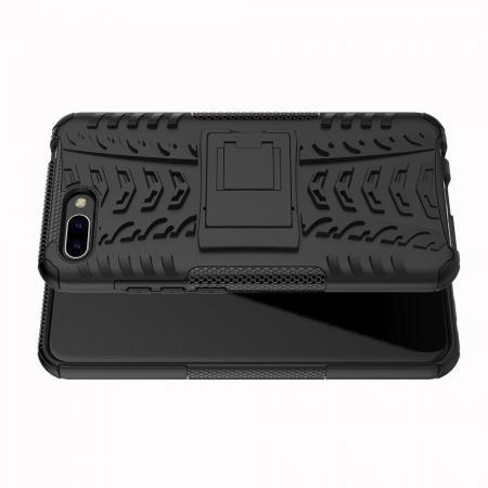 Двухкомпонентный Противоскользящий Гибридный Противоударный Чехол для Huawei Honor 10 с Подставкой Черный