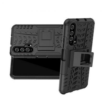 Двухкомпонентный Противоскользящий Гибридный Противоударный Чехол для Huawei Honor 20 Pro с Подставкой Черный