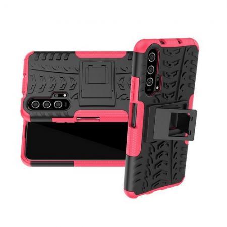 Двухкомпонентный Противоскользящий Гибридный Противоударный Чехол для Huawei Honor 20 Pro с Подставкой Розовый