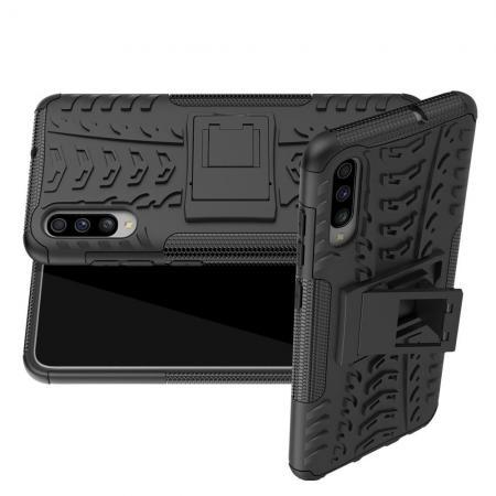 Двухкомпонентный Противоскользящий Гибридный Противоударный Чехол для Huawei Honor 20 с Подставкой Черный