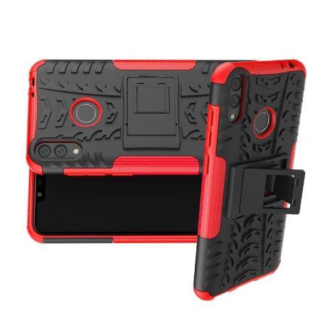 Двухкомпонентный Противоскользящий Гибридный Противоударный Чехол для Huawei Honor 8C с Подставкой Красный