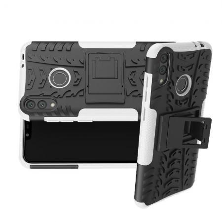 Двухкомпонентный Противоскользящий Гибридный Противоударный Чехол для Huawei Honor 8C с Подставкой Белый