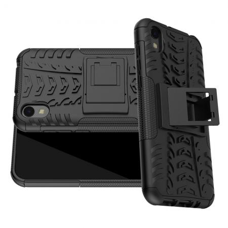 Двухкомпонентный Противоскользящий Гибридный Противоударный Чехол для Huawei Honor 8S / Y5 2019 с Подставкой Черный