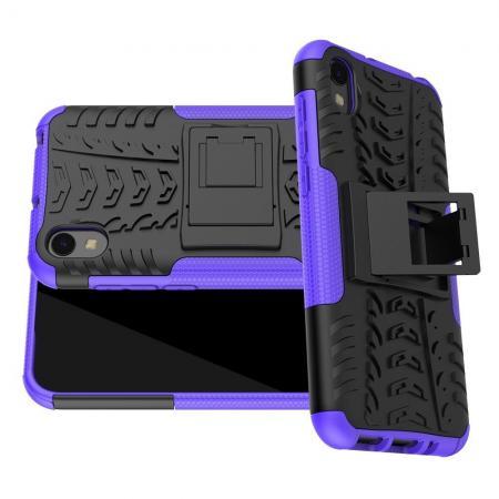 Двухкомпонентный Противоскользящий Гибридный Противоударный Чехол для Huawei Honor 8S / Y5 2019 с Подставкой Фиолетовый