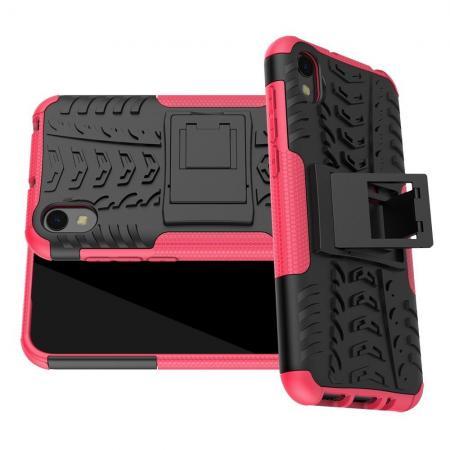 Двухкомпонентный Противоскользящий Гибридный Противоударный Чехол для Huawei Honor 8S / Y5 2019 с Подставкой Розовый