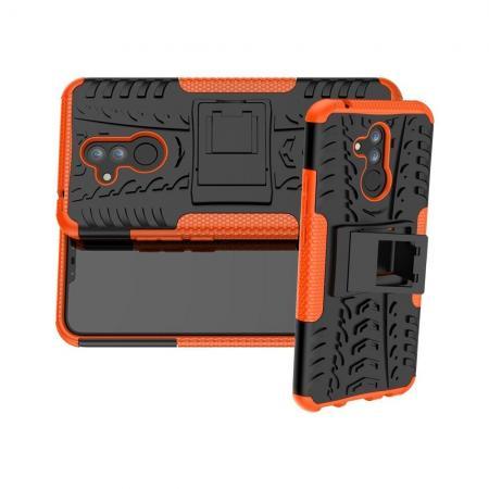 Двухкомпонентный Противоскользящий Гибридный Противоударный Чехол для Huawei Mate 20 Lite с Подставкой Оранжевый