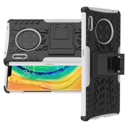 Двухкомпонентный Противоскользящий Гибридный Противоударный Чехол для Huawei Mate 30 Pro с Подставкой Белый / Черный