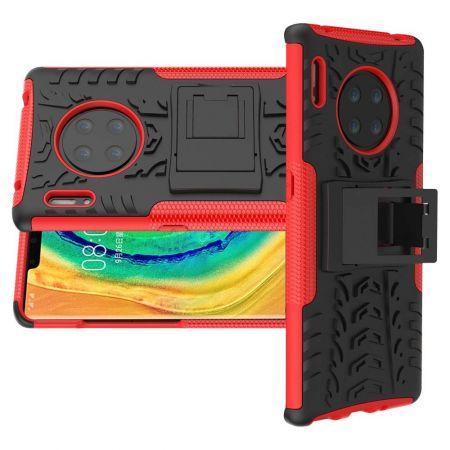 Двухкомпонентный Противоскользящий Гибридный Противоударный Чехол для Huawei Mate 30 Pro с Подставкой Красный / Черный