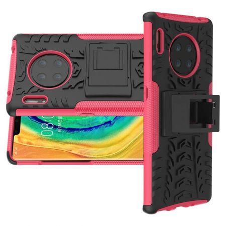 Двухкомпонентный Противоскользящий Гибридный Противоударный Чехол для Huawei Mate 30 Pro с Подставкой Розовый / Черный