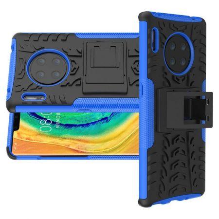 Двухкомпонентный Противоскользящий Гибридный Противоударный Чехол для Huawei Mate 30 Pro с Подставкой Синий / Черный